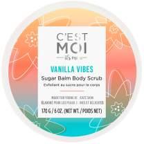 C'est Moi Vanilla Vibes Sugar Balm Body Scrub | Invigorating & Hydrating Exfoliant, Clinically Tested Non-Toxic Ingredients feat. Organic Shea Butter, Coconut Oil & Avocado Oil, EWG Verified, 6 oz
