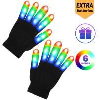 Huishang Flashing LED Finger Light Gloves Kids for Boys Girls Ages 7 8 9 10 11 12 Kids(1Pair,WB)