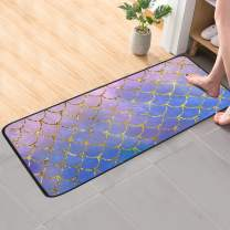 CaTaKu Ocean Marine Mermaid Area Rug 39x20 Inches Polyester Area Rug Non-Slip Floor Rug Runner Washable Carpet Mat for Kitchen Dinning Room Home Decorative