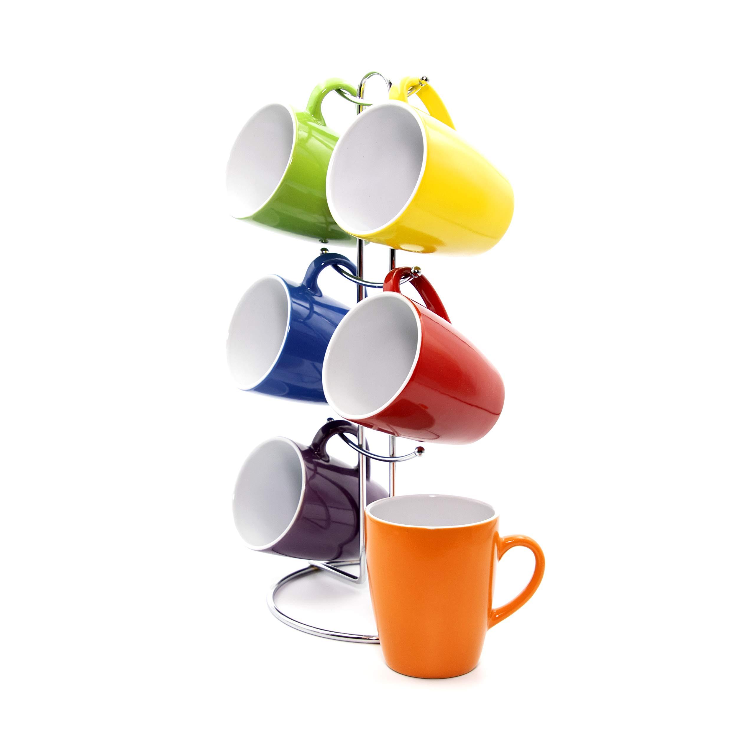 Gypsy Color 8 OZ. Americano Hanging Coffee Mug Set with Metal Tree, Rainbow Multi Colored Hand Glazed Ceramic Stoneware