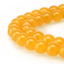 BRCbeads Jade Gemstone Loose Beads Natural Round 8mm Crystal Energy Stone Healing Power for Jewelry Making- Yellow