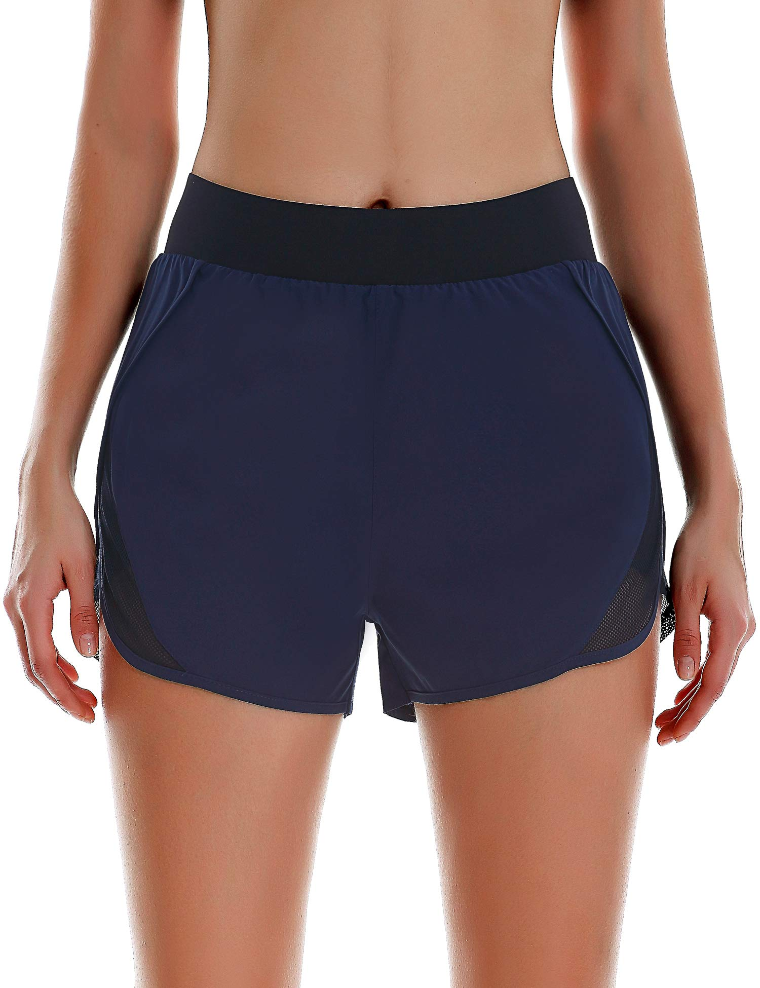 COOrun Women High Waisted Running Athletic Shorts with Mesh Liner Dry Fit Workout Sports Shorts