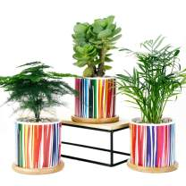 Sun-E Set of 3 Succulent Plant Pots, 3.15 Inch Cylinder Cactus Ceramic Planters with Bamboo Trays & Drainage Hole Perfect Gift Idea Rainbow Line Surface Pattern Home Wedding Decoration (Rainbow Line)