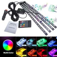 BLIAUTO Car Led Strip Lights Car Interior Lights RV Interior Lights RGB Under Dash Lighting Waterproof Kit with Sound Active Function and Wireless Remote Control, Car Charger Included(8 Colors,72LED)