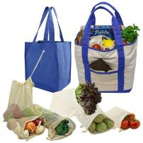 Simple Ecology Reusable Grocery Shopping 8 Bag Gift or Starter Set, Washable, Durable, Organic Cotton, Natural with Blue
