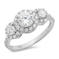 Clara Pucci 1.6 CT Round Cut Solitaire Anniversary Promise Engagement Ring Pave Halo 14k White Gold Bridal Band