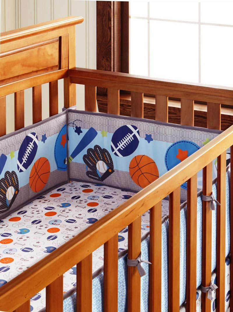 Baby Crib Bumpers 4 Pieces Blue Sports Baseball Breathable Nursery Bedding Bumper Pads for Baby Boys and Girls