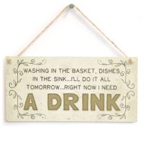 """Meijiafei Washing in The Basket, Dishes in The Sink. I'll do it All Tomorrow. Right Now I Need a Drink - Beautiful and Funny Laundry and Housework Home Accessory Gift Sign 10""""x5"""""""