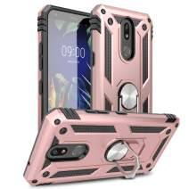 LG Stylo 5 Case, LG Stylo 5v Case, Yunerz LG Stylo 5 Plus Military Grade Armor Dual Layer Case with 360 Degree Rotating Ring Kickstand and Magnetic Case Cover for LG Stylo 5+/LG Stylo 5v (Rose Gold)
