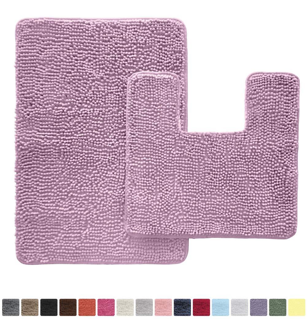 GORILLA GRIP Original Shaggy Chenille 2 Piece Area Rug Set, Includes Square U-Shape Contoured Toilet Mat & 30x20 Bathroom Rugs, Machine Wash/Dry Mats, Soft Rugs for Tub Shower & Bath Room, Purple