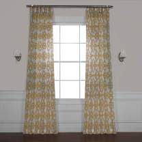 HPD Half Price Drapes SHCH-PS16073A-120 Printed Faux Linen Sheer Curtain (1 Panel), 50 X 120, Seaglass Yellow