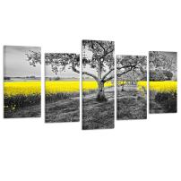 Kreative Arts Yellow Field in Black and White Nature Wall Art Modern Canvas Print 5 Panel Autumn Landscape Pictures Farmhouse Decor for Living Room Home Office Painting Photo Framed Ready to Hang