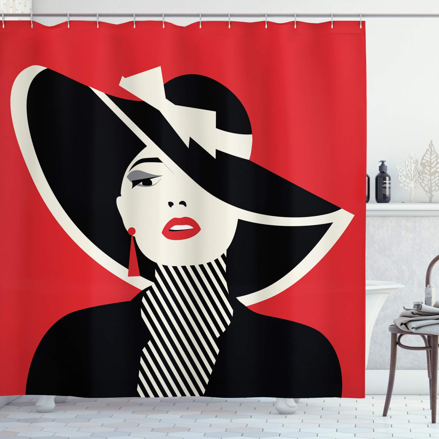 """Ambesonne Fashion Shower Curtain, French Style in Shabby Form Classical Vintage Hat and Striped Coat Design Print, Cloth Fabric Bathroom Decor Set with Hooks, 84"""" Long Extra, Black Red"""