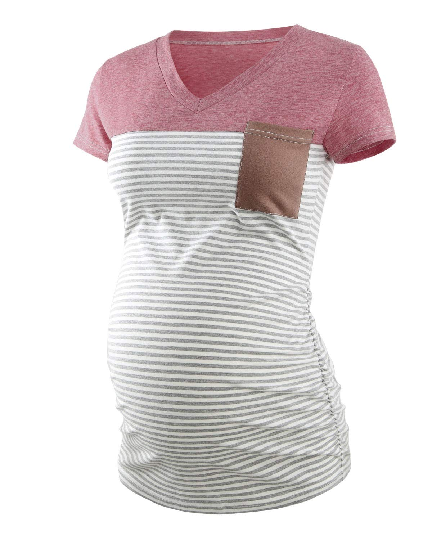 Ecavus Women's Casual Maternity Tops Short & Long Sleeve V Neck Colorblock Pregnancy T-Shirt with Pocket