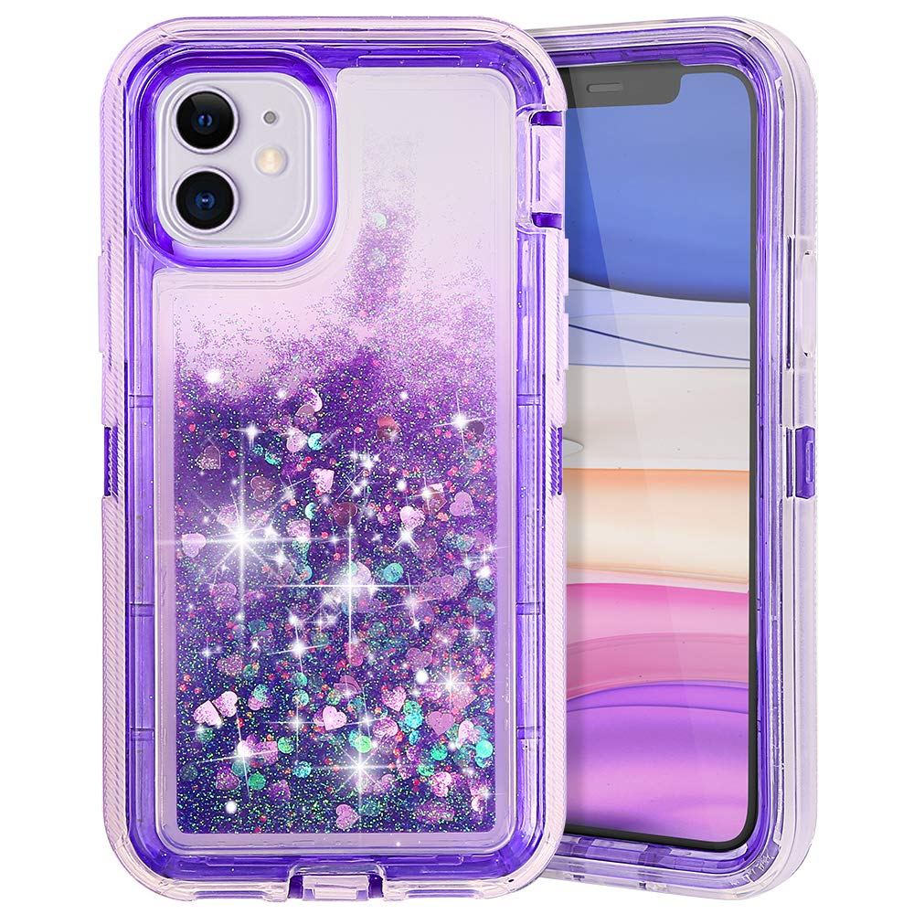COOYA iPhone 11 Case, iPhone 11 Glitter Case for Girls Women Full Body Protection Heavy Duty Shockproof Bumper Dual Layer Hard PC and TPU Back Cover Bling Sparkle Case for iPhone 11 6.1 Inch Purple