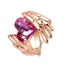 CDE Woman Elegant Rings Heart Shape Rose Gold Plated Embellished with Crystals from Swarovski Rings for Women Bold Style Fit Size for 6-9
