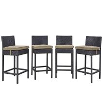 Modway Convene Wicker Rattan Outdoor Patio Bar Stools With Cushions in Espresso Mocha - Set of 4