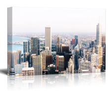 """wall26 Canvas Wall Art - Cityscape with Buildings - Giclee Print Gallery Wrap Modern Home Art Ready to Hang - 32"""" x 48"""""""