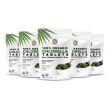 Earth Circle Organics, Premium Chlorella Tablets, USDA Organic, Kosher, Highest Potency, Pure Chlorella Raw Superfood, Cracked Cell Wall, High in Protein, no Additives or Fillers - 400 Tablets(5 Pack)