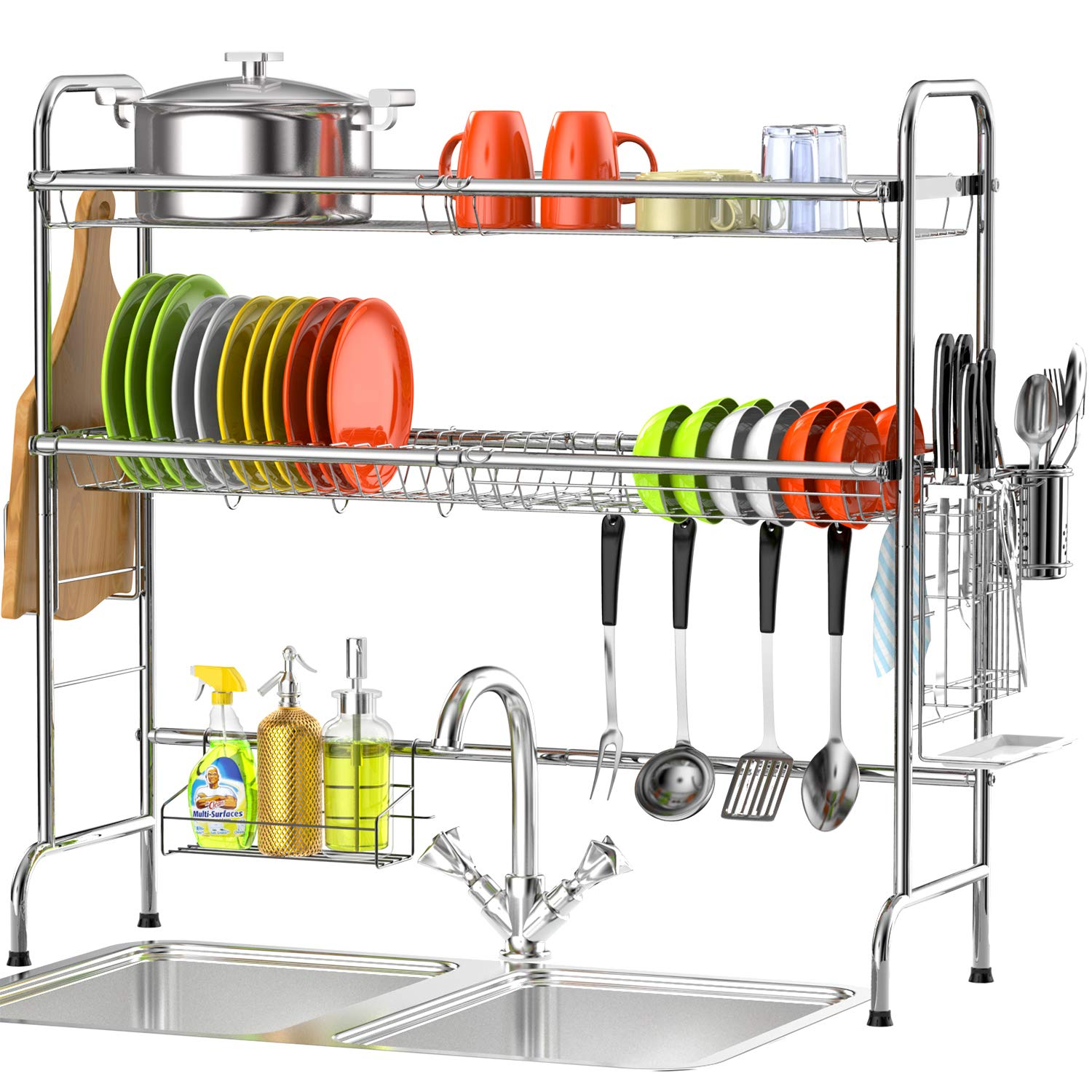 Over The Sink Dish Drying Rack Veckle 2 Tier Dish Rack Standing Dish Drainer Non Slip Stainless Steel Dish Dryer Utensil Holder Cutting Board Holder Kitchen Counter Shelf Storage Rack Silver