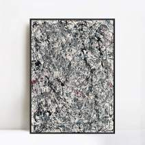 """INVIN ART Framed Canvas Giclee Print Art Number 19 1948 by Jackson Pollock Wall Art Living Room Home Office Decorations(Black Slim Frame,20""""x28"""")"""