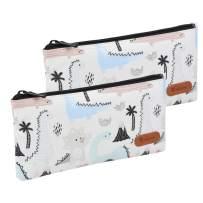Teskyer Pencil Case/Pen case/Pencil Pouch for Students, Zipper Stationery Bag for Pens and Pencils, Women's Small Makeup Pouch, Utility Zipper Cash Coin Bag-2 Pack,Lite Blue