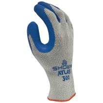 SHOWA Atlas 300 Fit Palm Coating Natural Rubber Glove, Blue, X-Large (Pack of 12 Pairs)