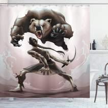 "Ambesonne Bear Shower Curtain, Mythological Scene Concept of an Elf and Angry Bear Fantasy Fairytale Theme, Cloth Fabric Bathroom Decor Set with Hooks, 70"" Long, Warm Taupe"
