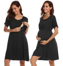 Ekouaer Nursing Sleepshirt Women Button-Front Nightshirt Short Sleeve Nightgown Breastfeeding Sleepwear S-XXL