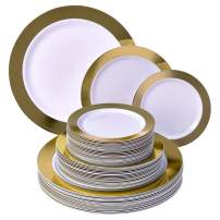 PARTY DISPOSABLE 240 PC DINNERWARE SET | 80 Dinner Plates | 80 Salad Plates | 80 Dessert Plates | Heavy Duty Dishes | Elegant Fine China Look | Upscale Wedding and Dining (Ritz - Gold)