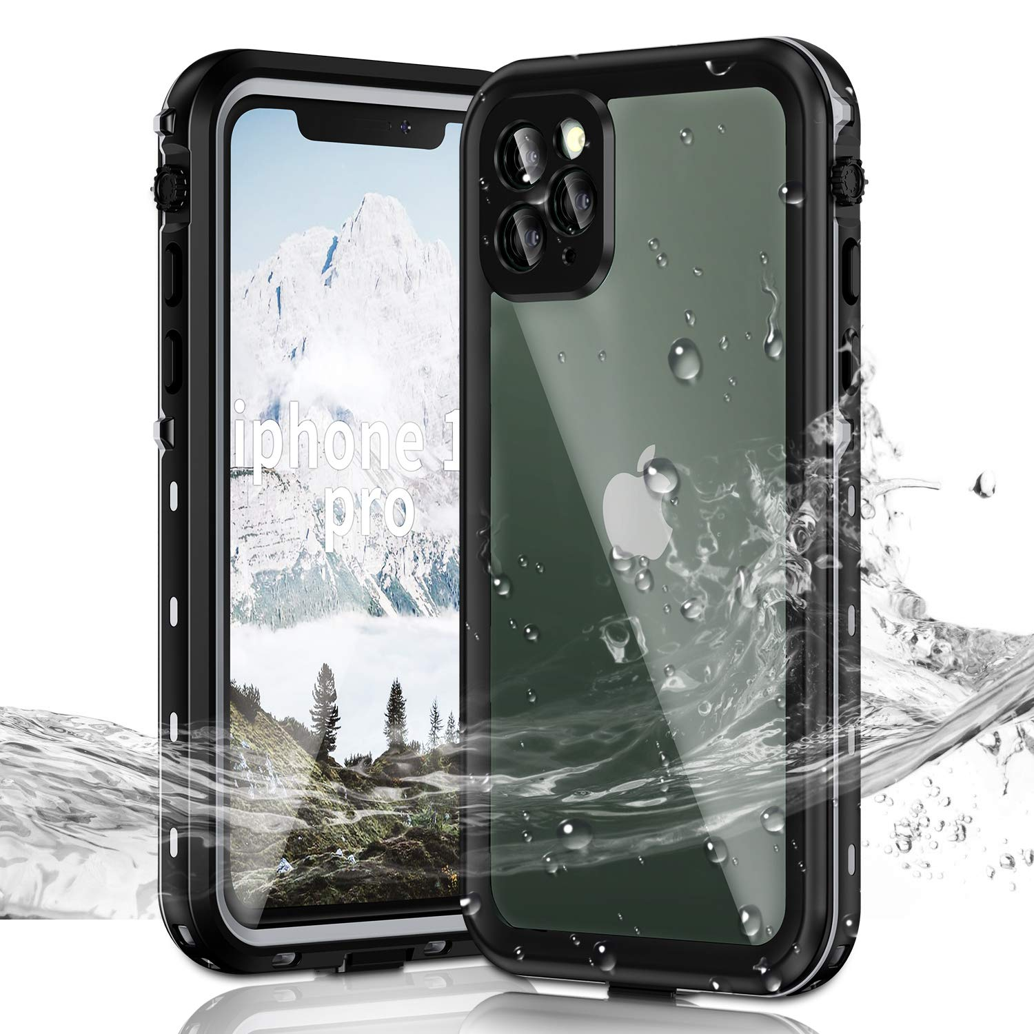 Janazan iPhone 11 Pro Waterproof Case, IP68 Full Sealed Underwater Protective Cover, Waterproof Shockproof Snowproof Dirtproof with Built-in Screen Protector for iPhone 11 Pro 5.8 inch 2019 (Black)