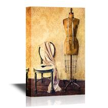 wall26 Retro Style Canvas Wall Art - Antique Dress Form and Chair with Vintage Look - Gallery Wrap Modern Home Decor | Ready to Hang - 24x36 inches