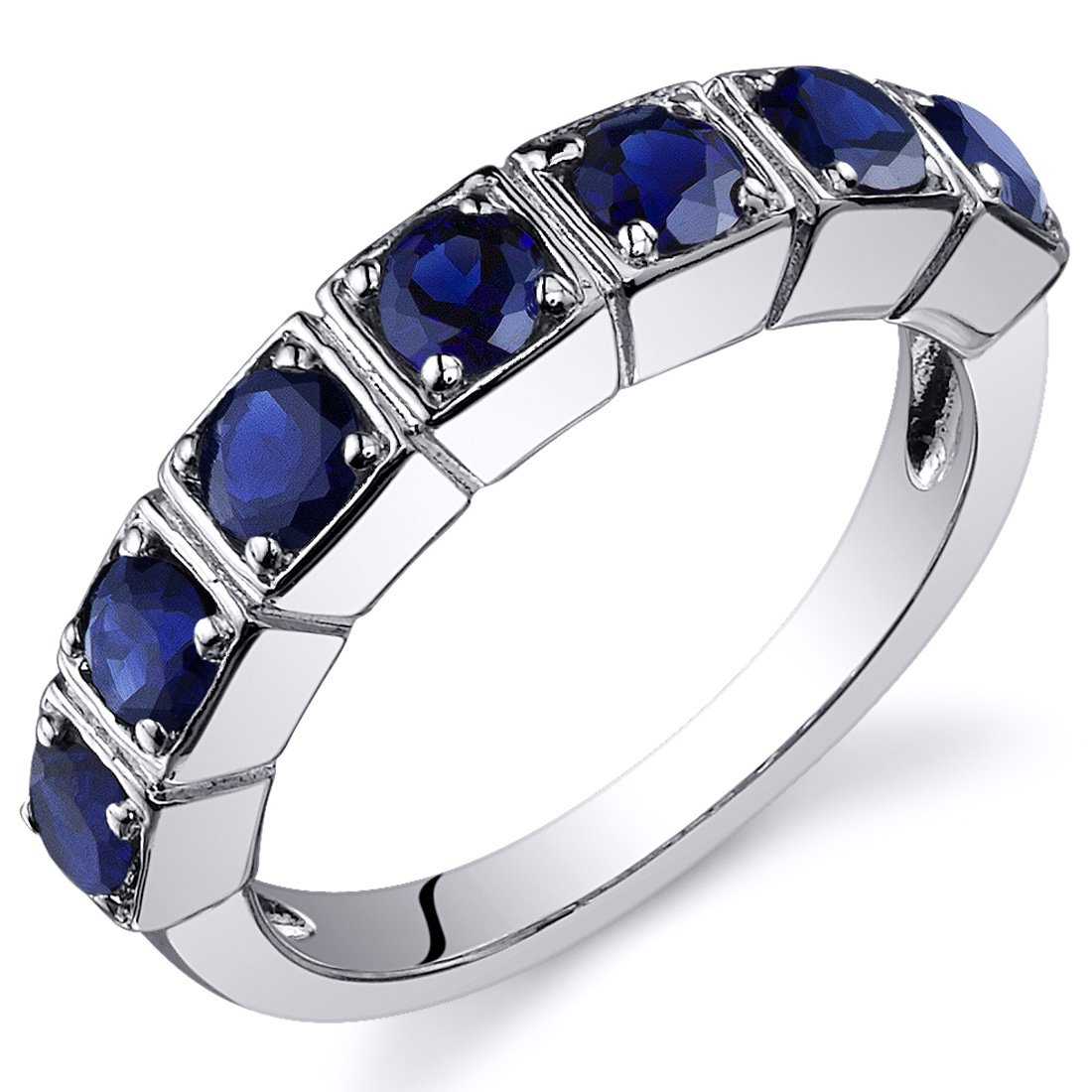 Created Sapphire Ring Sterling Silver Rhodium Nickel Finish 7 Stone Band Sizes 5 to 9