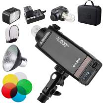 GODOX AD200Pro AD200 PRO with Reflector and Color Filters Kit, 200Ws 2.4G Flash Strobe, 1/8000 HSS, 500 Full Power Flashes, 0.01-1.8s Recycling, 2900mAh Battery, Bare Bulb/Speedlite Fresnel Flash Head