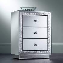 """Biscaya 19"""" Wide 3-Drawer Beaded Mirrored Side Table - Studio 55D"""