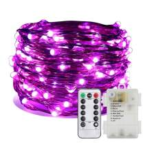 ER CHEN Battery Operated Fairy Lights, Waterproof 8 Modes 100 LED String Lights 33 ft Copper Wire Twinkle Firefly Lights with Remote Timer for Indoor Outdoor Decor (Purple)
