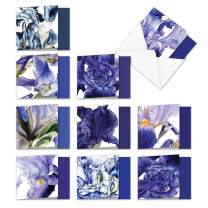 10 Square-Top 'Iridescent Iris Teacher Thank You' Boxed Greeting Cards - Assortment of Beautiful Flower Thank You Notecards - Floral Stationery Notes with Envelopes 4 x 5.12 inch AMQ4949TTG-B1x10