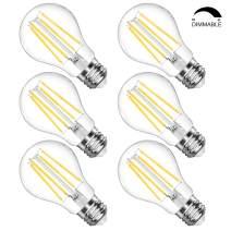 LANGREE A19 LED Light Bulb, Dimmable LED Filament Light Bulbs, 6W(Equivalent 60 Watt), 4000K Daylight White, E26 Medium Base Led Bulb, Clear Glass Led Bulbs, Standard Replacement, Pack of 6