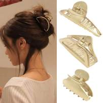 Claw Hair Jaw Clips Barrettes - 3 Pcs No Slip Claw Clip Hair Clamp Grips for Women Girls Jaw Clips Clamp Barrettes (Long + Square + Triangle)