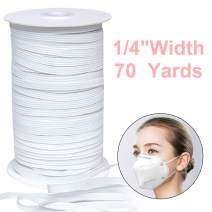 Elastic Bands for Sewing 1/4 inch, 70 Yards TOOVREN Elastic String for Masks, Flat Knit Elastic Cord Heavy Stretch High Elasticity Strap Earloop for DIY Crafts Mask Making Supplies - White