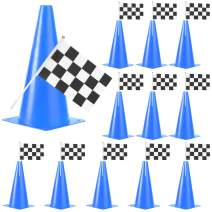 PACEARTH 11 Inch Plastic Traffic Cones with Chequered Flags 10 Pack Agility Cones Thick Soccer Training Cones for Outdoor Activity, Festive Events, Fitness Training, Traffic Safety Practice