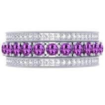 Dazzlingrock Collection 14K Round Gemstone & Diamond Ladies Eternity Anniversary Wedding Band, White Gold