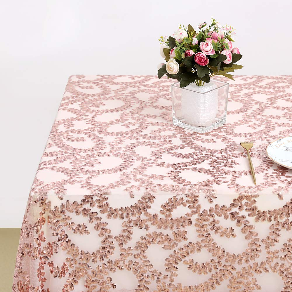 SoarDream Sequin Overlay Tablecloth Rectangle Sparkly Rose Gold Flower for Wedding Christmas Decoration Party 50in x 50in