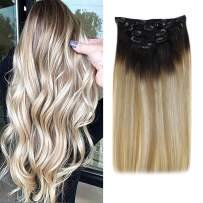 """[20% OFF]LaaVoo Clip in Hair Extensions for Full Head 16"""" Clip On Human Hair Extensions Balayage Off Black to Golden Brown and Platinum Blonde 5pcs Double Weft Clip in Straight Real Hair 70g"""