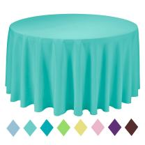 VEEYOO Round Table Cloth Solid Color Polyester Tablecloth for Bridal Shower Table – Circular Dinner Table Cover for Wedding Party Restaurant (Turquoise, 132 inch)