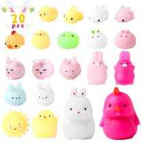 WATINC 20Pcs Easter Mochi Squishies Toys for Kids Easter Party Favors, Kawaii Easter Bunny Chick Mini Soft Squeeze Cat Squishies, Stress Relief Hand Toys, Easter Party Decorations Gifts for Toddlers