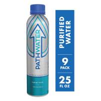PATHWATER Purified Flouride Free Water in Eco-Friendly, Sustainable BPA Free Reusable Recyclable Durable Light Weight Leak Proof Sleek Aluminum Bottle (740 mL, 25 Ounces, Case of Water, Pack of 9)