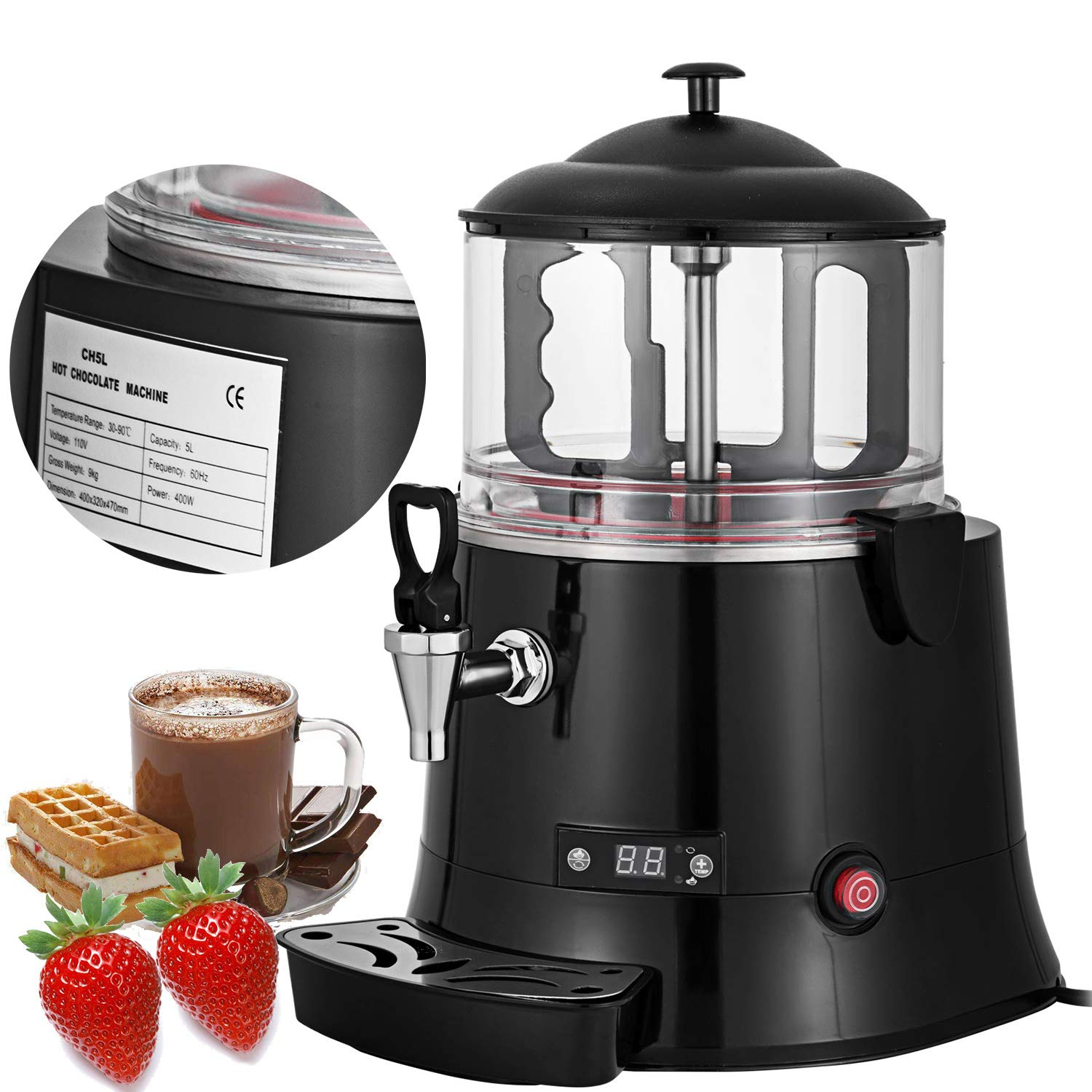 VEVOR Commercial Hot Chocolate Machine 400W Chocolate Beverage Dispenser 5 Liter Hot Chocolate Maker & Milk Frother 110V Beverage Dispenser Machine for Restaurants Bakeries Cafes