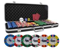 DA VINCI Unicorn All Clay Poker Chip Set with 500 Authentic Casino Weighted 8.5 Gram Chips, Black ABS Case, 2 Decks of Plastic Playing Cards, Dealer Buttons and 2 Cut Cards