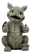 """Ebros Whimsical Good Job Thumbs Up Dragon Garden Statue Faux Stone Resin Finish 10"""" H Dungeons and Dragons Mythical Fantasy Sculpture Guest Greeter Home Decor"""